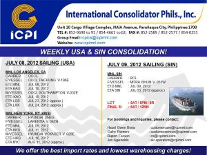 Weekly Consolidation Sailing Schedule