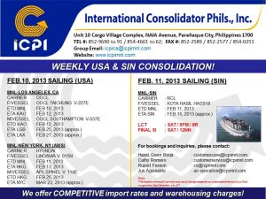 ICPI EXPORT CONSOL USA-SIN WEEK 06 2013