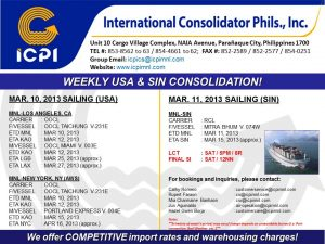 ICPI EXPORT CONSOL USA-SIN WEEK 10 2013