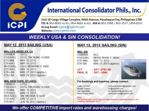 ICPI EXPORT CONSOL USA-SIN WEEK 19 2013