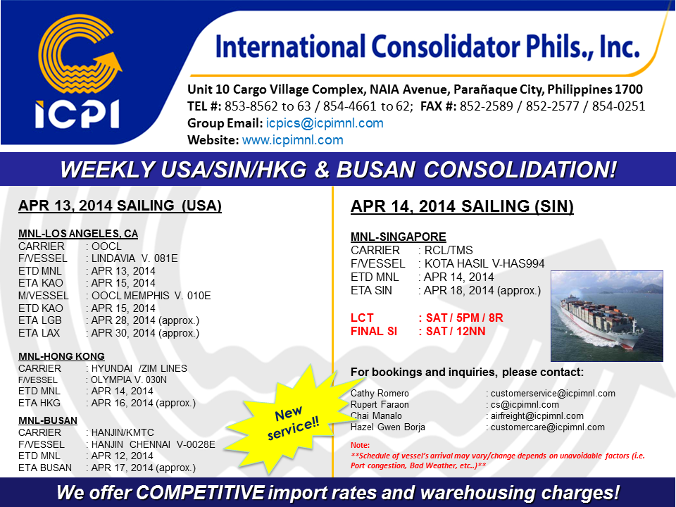 Freight Forwarder Icpi Usa Amp Sin Consolidation Week 15