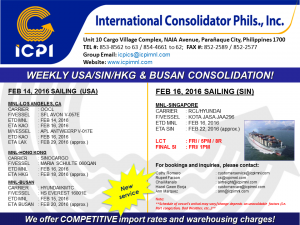 ICPI EXPORT CONSOL USA-SIN WEEK 07 2016