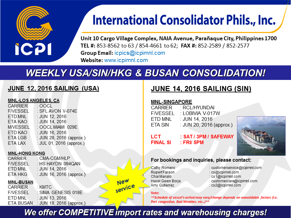 Freight Forwarder Icpi Usa Amp Sin Consolidation Week 24