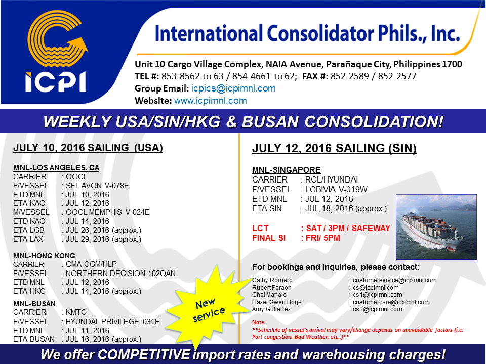 Freight Forwarder Icpi Usa Amp Sin Consolidation Week 28