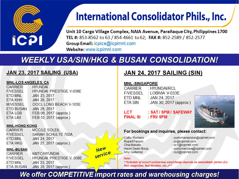 Freight Forwarder | ICPI USA & SIN CONSOLIDATION: WEEK 03