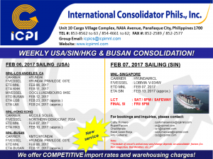 ICPI EXPORT CONSOL USA-SIN WEEK 05 2017